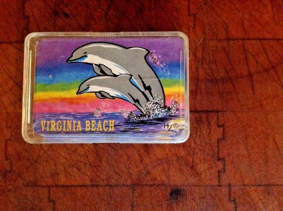 Virginia Beach Dolphins Souvenir Playing Cards, Sunset, Ocean, Hard Plastic Case