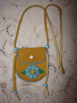 Paul St. John Mohawk Native American Medicine Bag Pouch Purse Leather Beaded