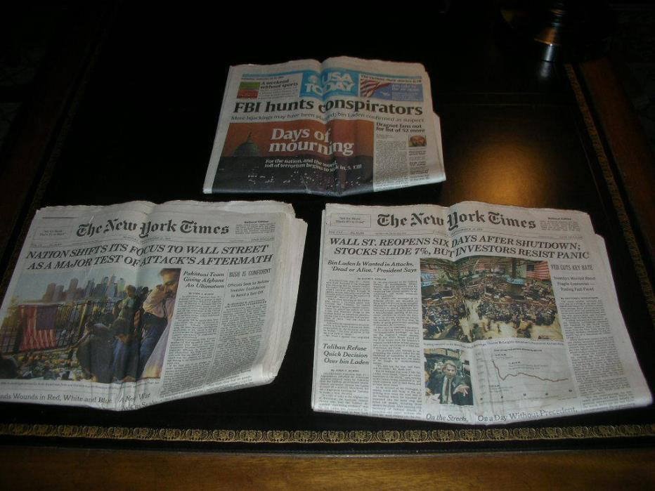USA TODAY September 14-16, 2001 New York Times World Trade Center WTC 9/11