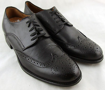 240861 MSi50 Men's Shoes 9 M Made in Italy Black Leather Johnston Murphy Lace Up