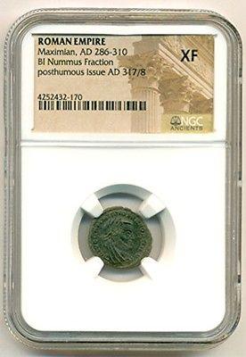 Roman Empire Maximian AD 286-310 BI Nummus Fraction posthumous issue XF NGC