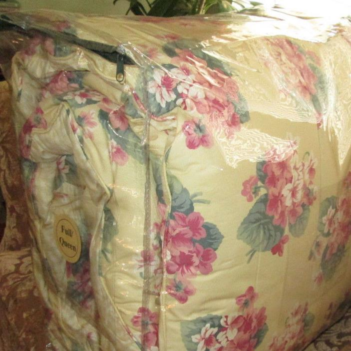 RALPH LAUREN Queen Comforter COTTAGE YELLOW pink green