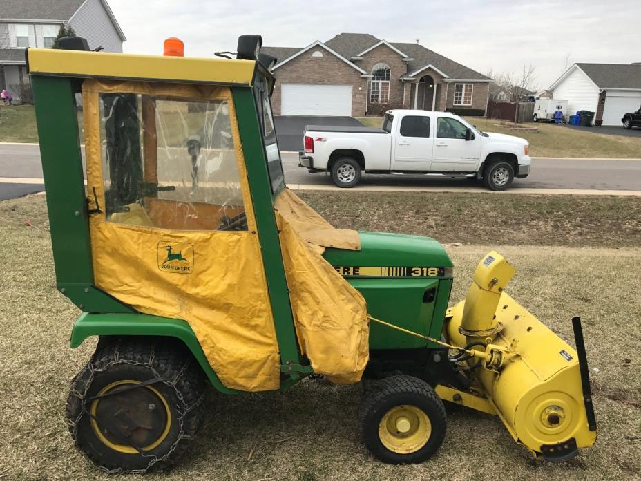 JOHN DEERE 318 lawn tractor with deck,snowblower,and cab 318,317,316,322