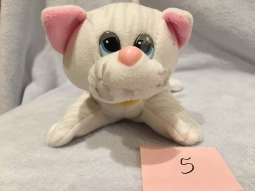 Vintage Pound Puppies Purries White Tabby Cat Kitten Yellow Ribbon