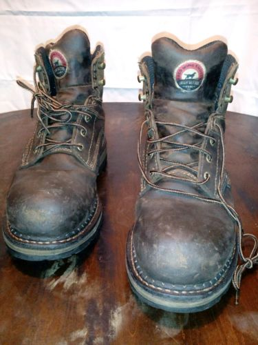 Red wing steel toe waterproof work boots for men size 11D color chocolate brown