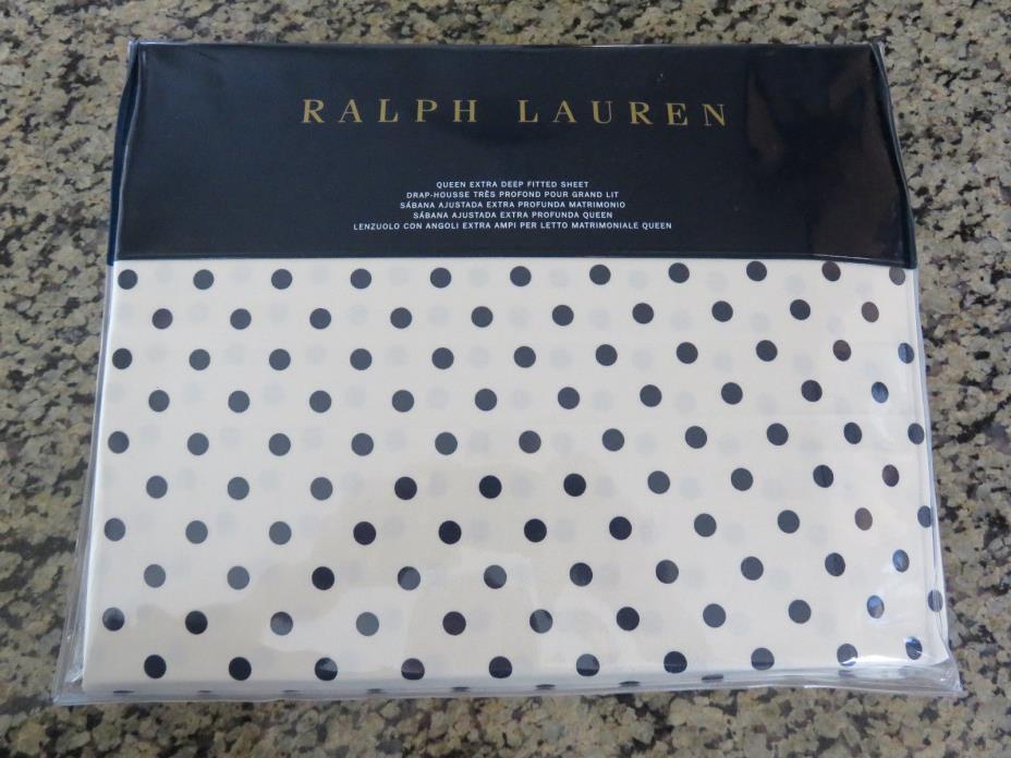NEW RALPH LAUREN Queen Deep Fitted Sheet Charlotte Modern Glamour Polka Dot