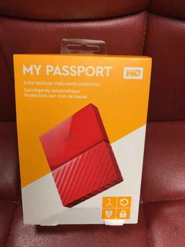 Western Digital WD 1TB My Passport Portable Hard Drive - Red Free Shipping