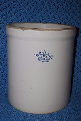 Vintage Robinson Ransottom 5 Gallon Blue Crown Stoneware Crock