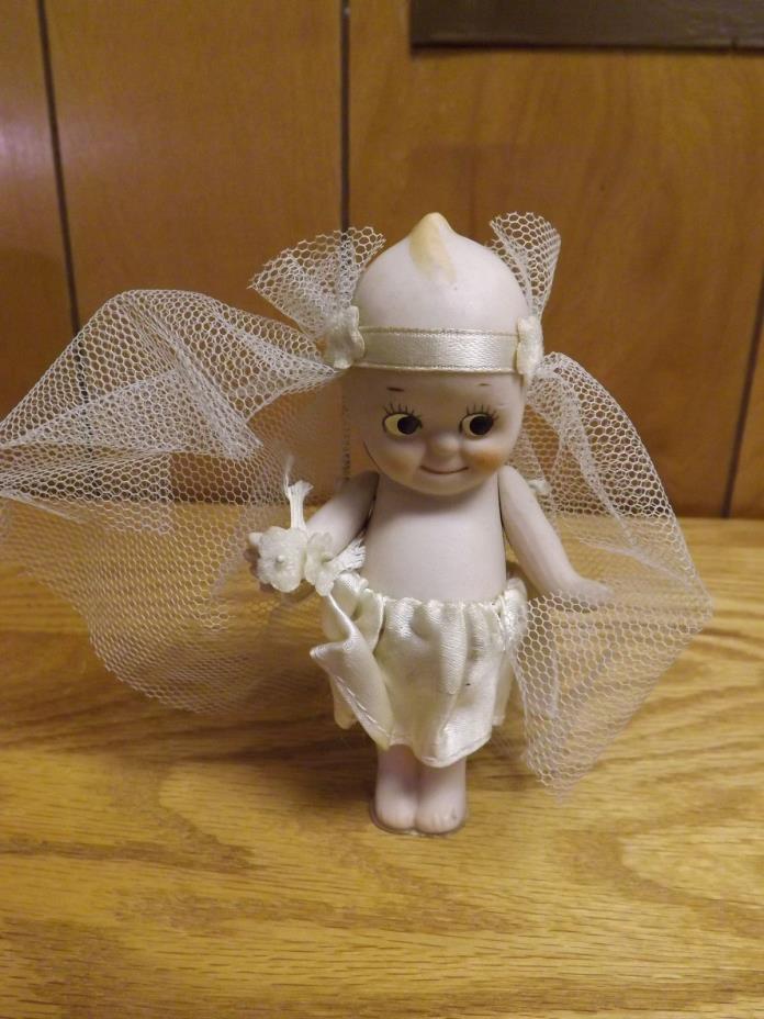 Vintage Antique Bisque Porcelain Kewpie Bride Doll  w/ Fabric Outfit 4 3/4