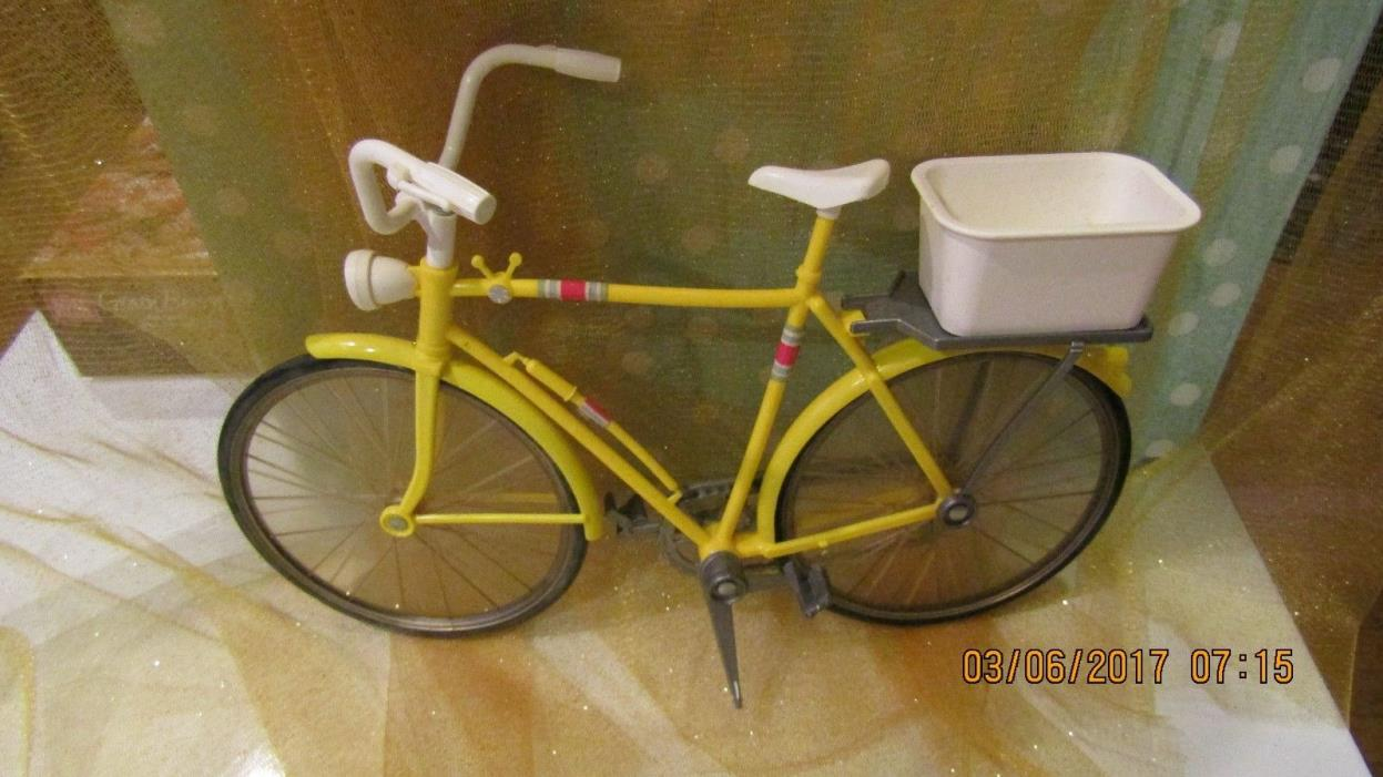 Vintage Doll Barbie Yellow Bike Bicycle with Basket