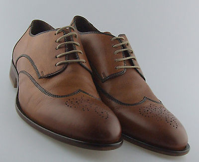 203052 FTi60 Men's Shoe Size 9M Antique Brown Leather Lace Up Johnston Murphy
