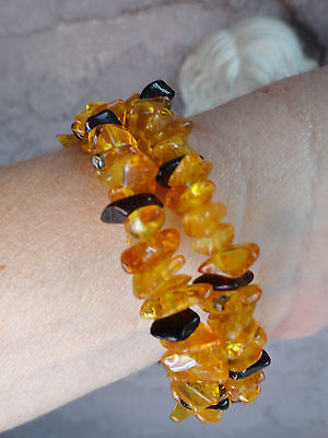 Genuine Baltic Amber Polished Bracelet Variegated Ambers Colors Natural Healing
