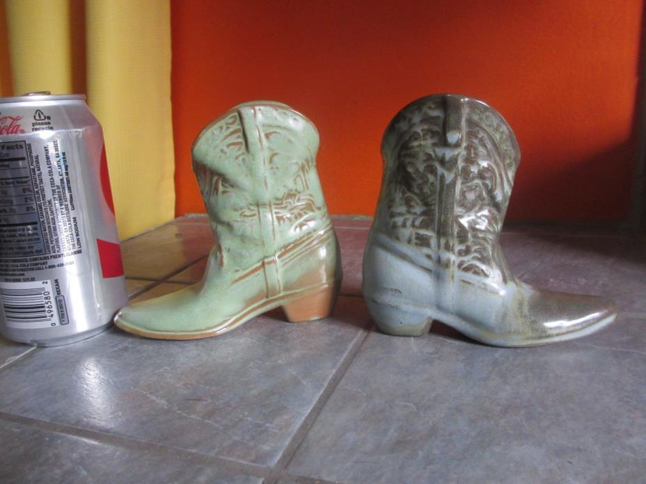 2 Vintage FRANKOMA Pottery COWBOY BOOT Figurines Small Planter Vases