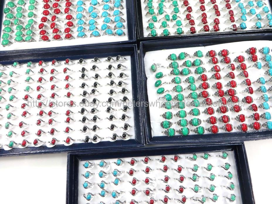 US SELLER- 15pcs turquoise gemstone ring fashion jewelry cheap jewelry bulk lot