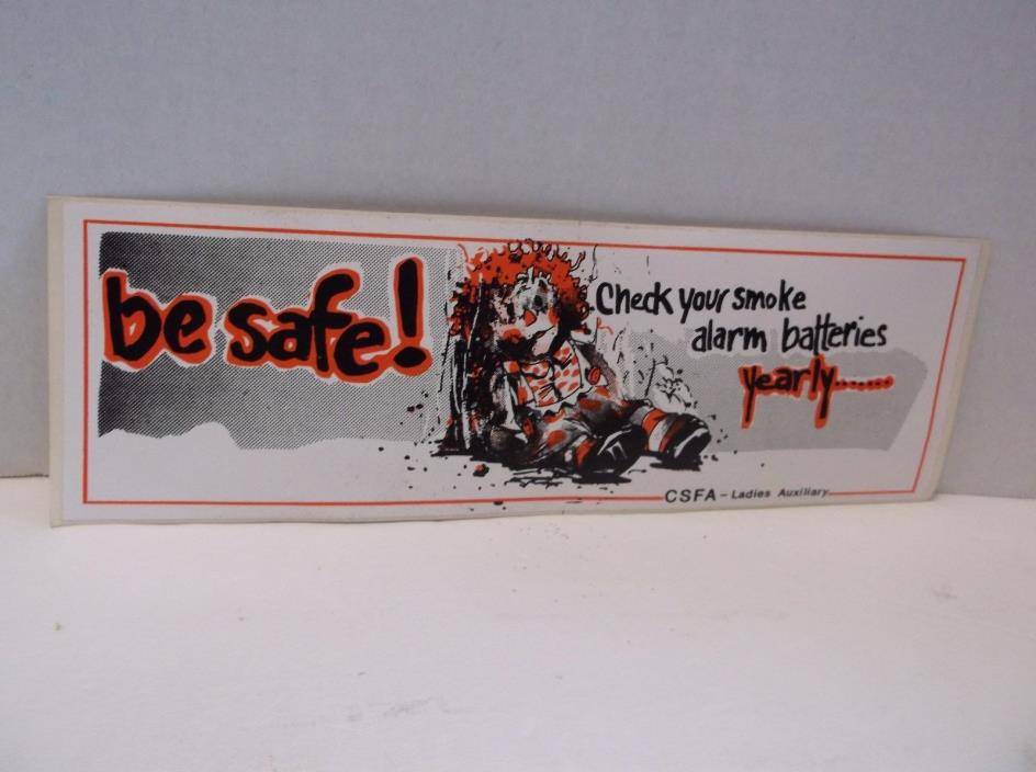 Vintage Check Your Smoke Alarm Batteries Decal Sticker Fire Prevention