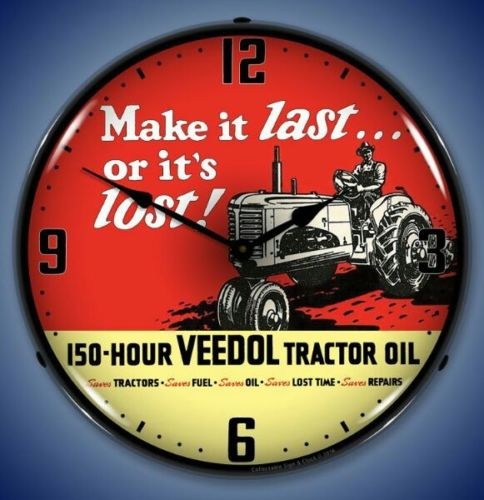 New old style Veedol Tractor Oil Make it Last LIGHT UP advertising farm clock
