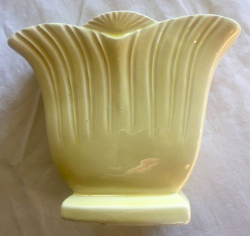 Vintage RRP Co Roseville OH pottery vase, Yellow Tulip Planter