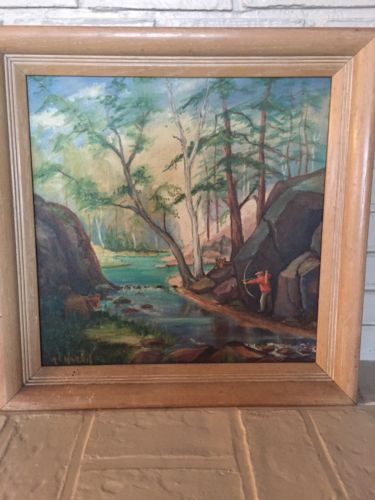 Framed Folk Art Oil Painting On Board-signed R.L. Harris, Original