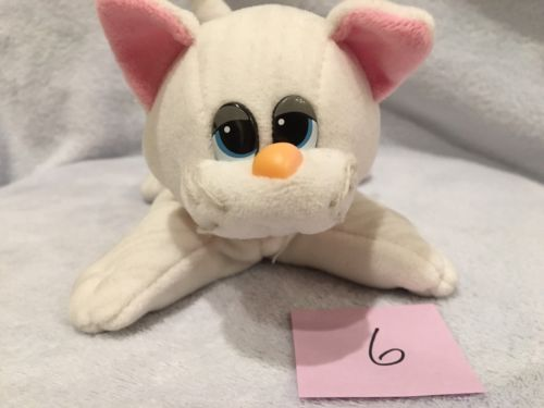 Vintage Pound Puppies Purries White Tabby Cat Kitten Pink Ribbon
