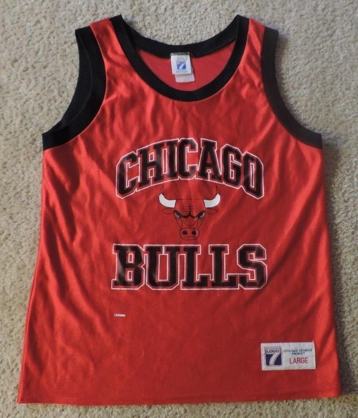 Child Size Large Logo 7 NBA Chicago Bulls Basketball Jersey 1990's Red w/ Black