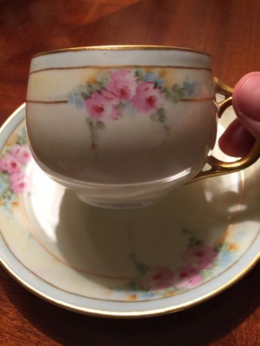 Vintage Tea Cup And Saucer Iridescent Floral Germany