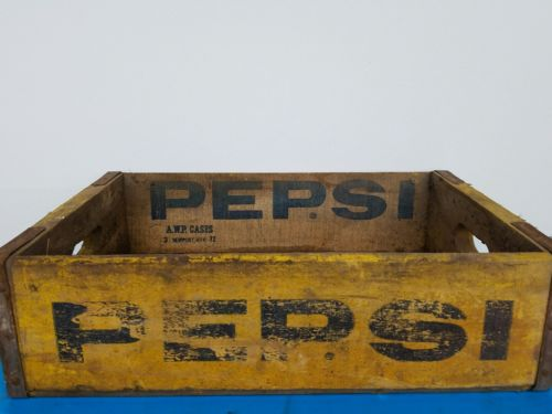PEPSI CRATE YELLOW WOOD VINTAGE RARE INSIDE STAMP