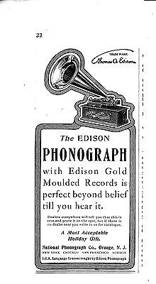 1904 Edison Phonograph With Edison Gold Moulded Records-Original Magazine Ad