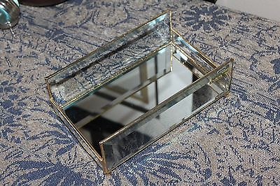 Elegant 24K gold Leaded Beveled glass guest towel holder with mirrored base