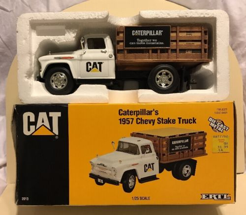 1/25 Cat Caterpillar 1957 Chevy stake bed dealer truck by Ertl, New in box