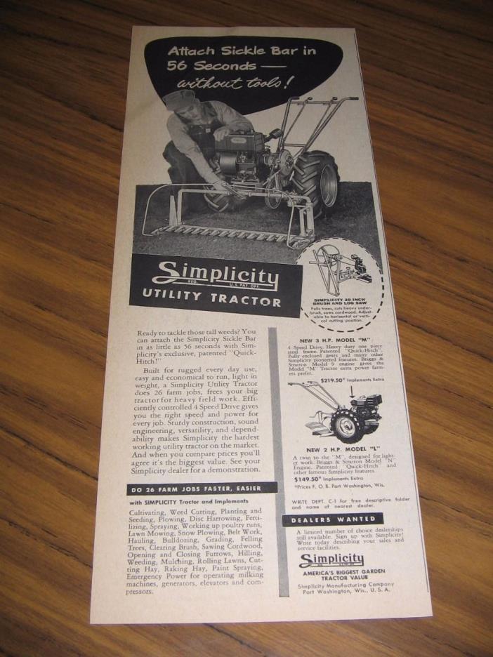 1950 Print Ad Simplicity Utility Gardens Tractors Briggs & Stratton Engines