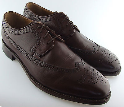 240943 MS50 Men's Shoes Size 9D Brown Leather Lace Up Wing Tip Johnston Murphy