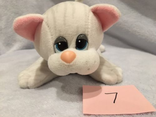 Vintage Pound Puppies Purries White Tabby Cat Kitten Blue Ribbon