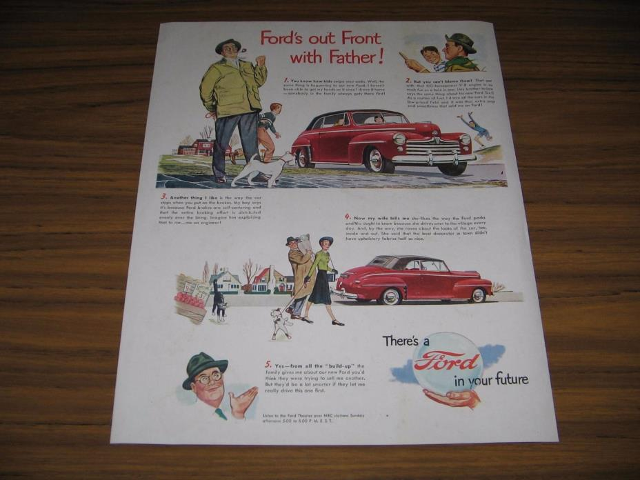 1948 Print Ad Ford Red 2-Door Car Happy Father Talks About His Car
