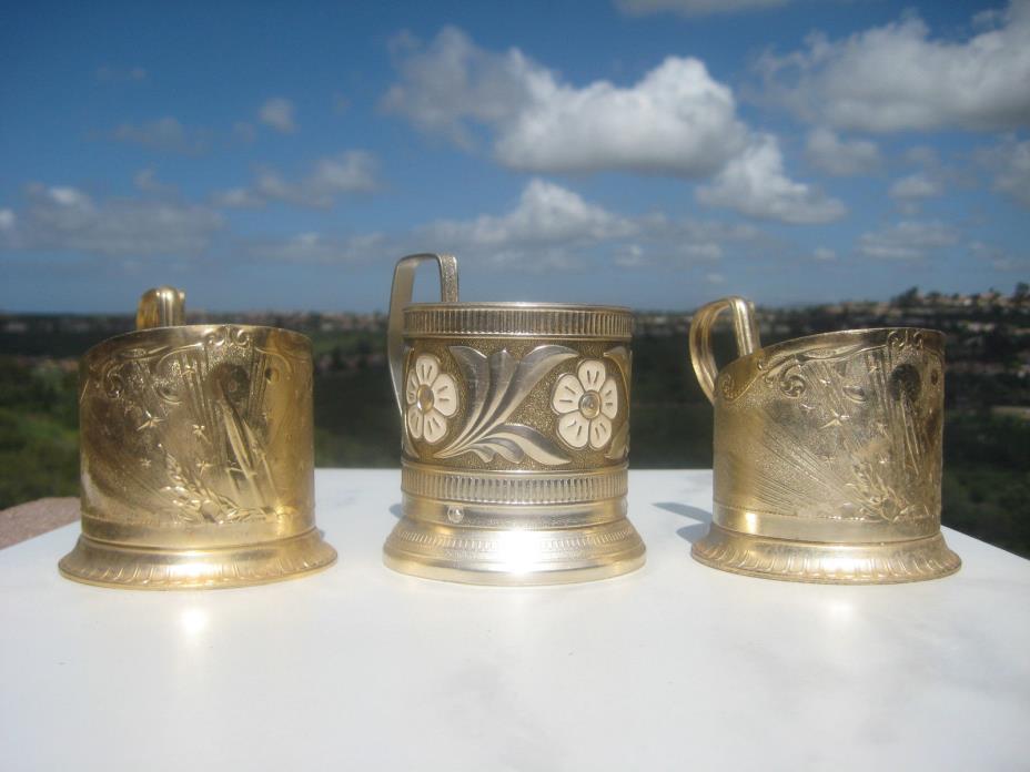 VINTAGE USSR SOVIET RUSSIAN ALUMINUM TEA GLASS HOLDER PODSTAKANNIK 1970TH  LOT