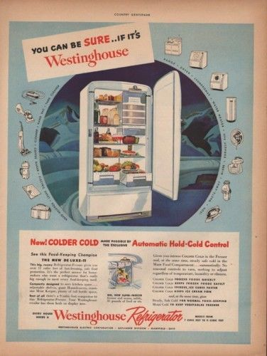 1949 WESTINGHOUSE REFRIGERATOR KITCHEN MOUNTAIN FREEZER9588