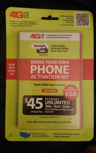 STRAIGHT TALK MOBILE BRING YOUR OWN PHONE $45 ACTIVATION KIT