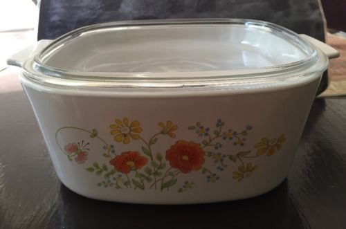 CORNING WARE Wildflower A-5-B Large Casserole Dutch Oven Roaster 5 Qt. Pyrex Lid