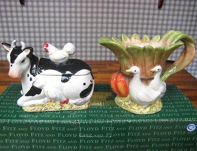 FITZ & FLOYD FARM COUNTRY SUGAR & CREAMER COW & DUCKS  MIB