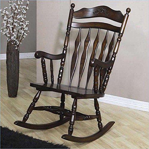 Vintage Wooden Rocking Chair Seat Rocker Carved Detail Traditional Medium Brown