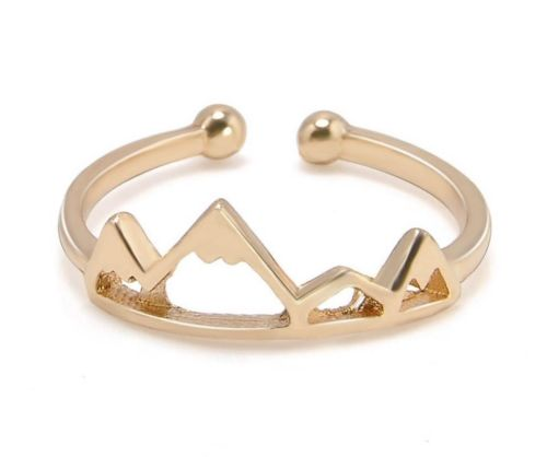 NEW Womens Open Snow Cap Mountain Adjustable Gold Tone Fashion Ring