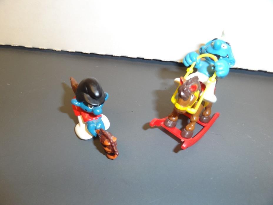 VTG lot Smurf Rocking horse 1981 Riding horse toy stick 1980 Schleich Peyo
