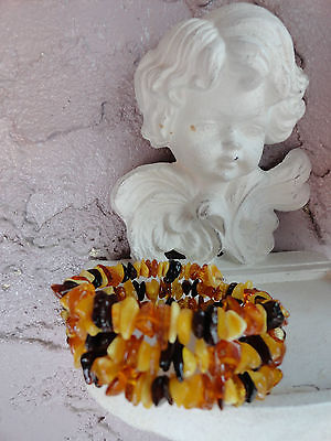 Genuine Baltic Amber Polished Bracelet Variegated Multi Colors Natural Healing