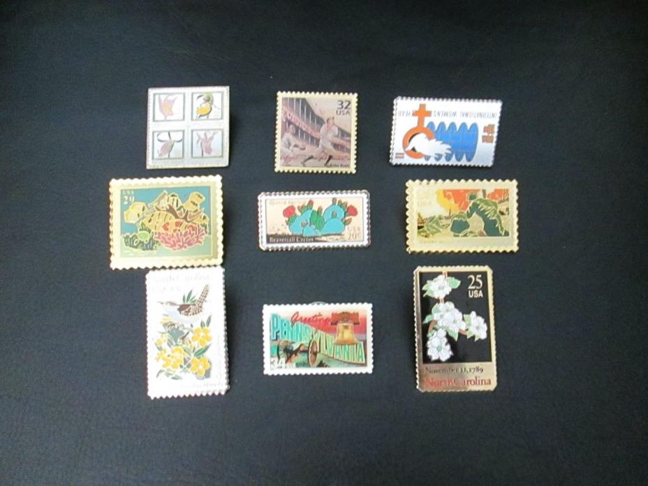 Lof of 9 USPS  Stamp Pins North South Carolina Ocean Babe Ruth Orchids Marines