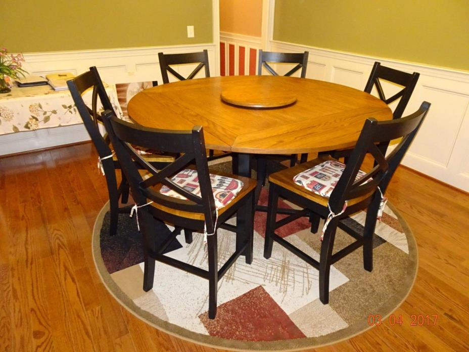 Formal Oak wood dinning table with 6 chairs and lazy susan