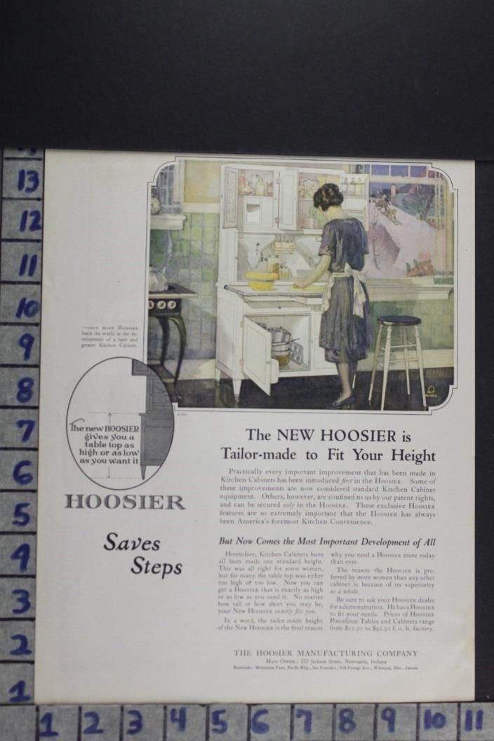 1922 HOUSEHOLD KITCHEN DECOR HOOSIER CABINET NEWCASTLE IND VINTAGE AD EF081