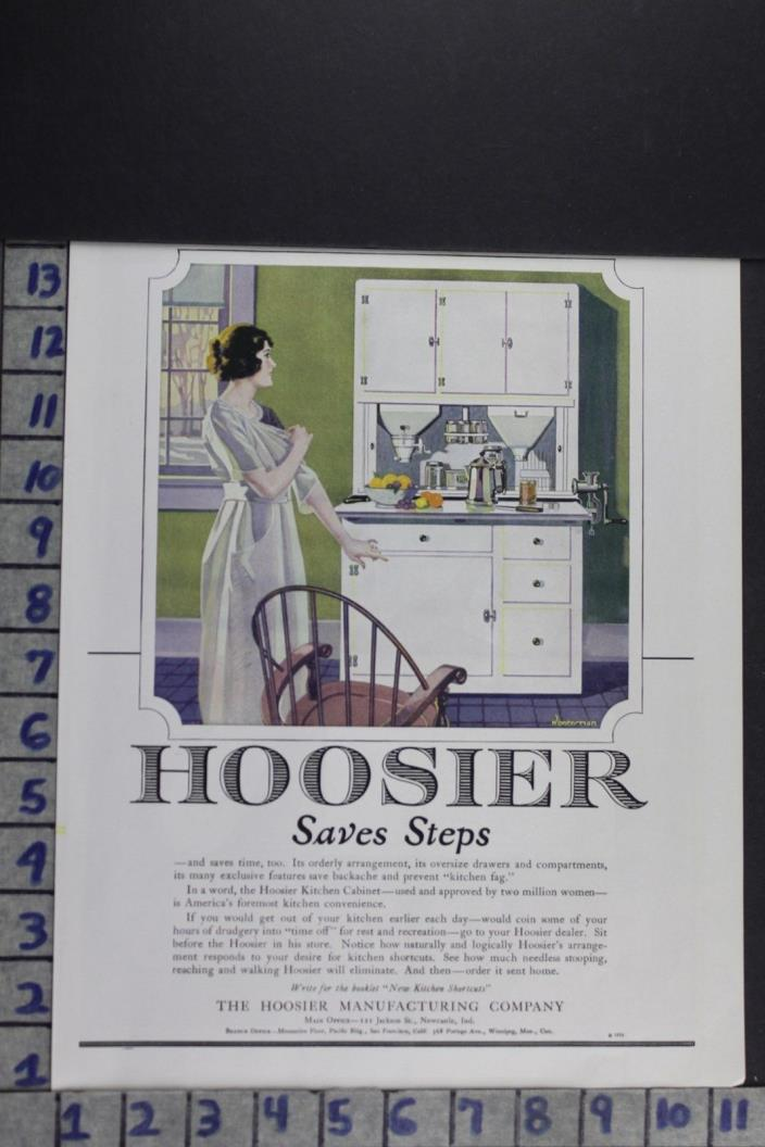 1921 HOUSEHOLD DECOR KITCHEN CABINET COOKING UTENSIL HOOSIER VINTAGE AD EF082