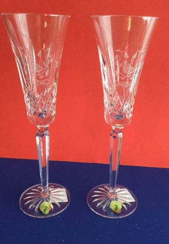 WATERFORD  LISMORE Crystal Set Of TWO  12 Days Of Christmas PARTRIDGE Flutes NIB
