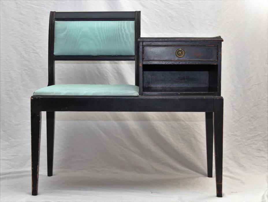 Mid Century Modern Telephone Desk Gossip Bench Vintage