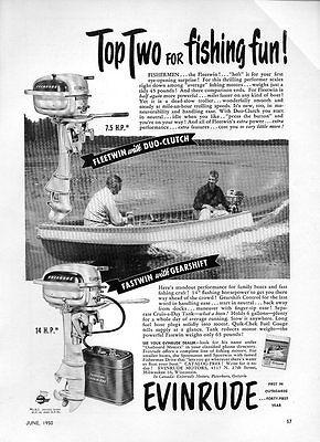 1950 Vintage Ad Evinrude Fleetwin 7.5 HP & Fastwin 14 HP Outboard Motors