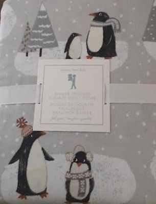 New Pottery Barn Kid Winter PENGUIN Full Queen DUVET +2 PILLOWCASES Flannel grey